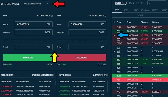 stex buy sell orders trading platform